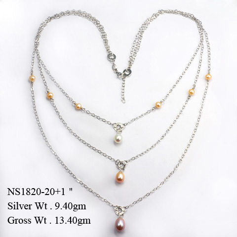 NS1820 925 Sterling Silver Necklace w/Fresh Water Pearl