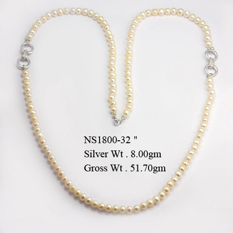 NS1800 925 Sterling Silver Necklace w/Fresh Water Pearl + CZ