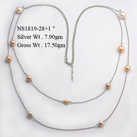 NS1819 925 Sterling Silver Necklace w/Fresh Water Pearl