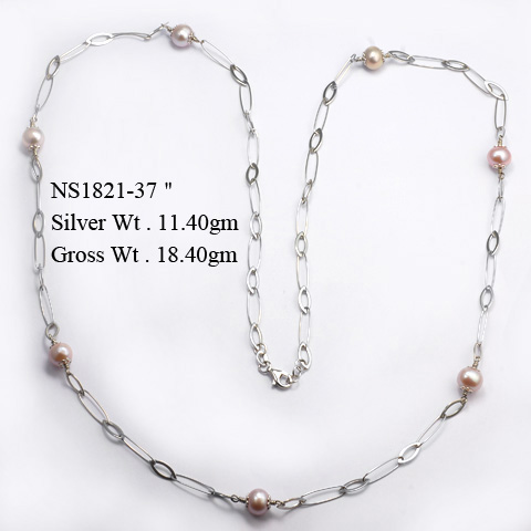 NS1821 925 Sterling Silver Necklace w/Fresh Water Pearl