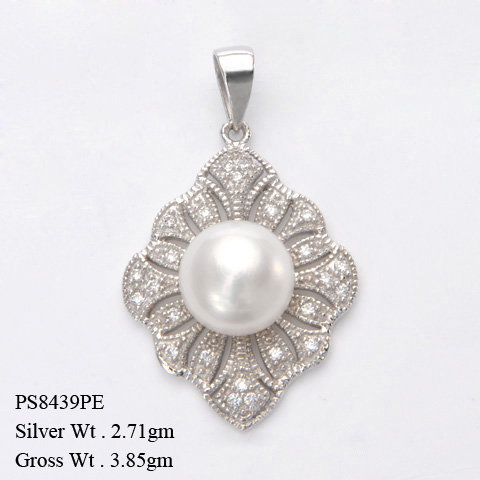 PS8439PE 925 Sterling Silver Pendant w/Fresh Water Pearl + CZ