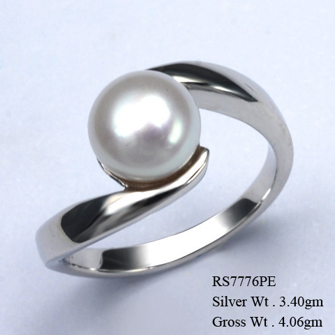 RS7776PE 925 Sterling Silver Ring w/Fresh Water Pearl